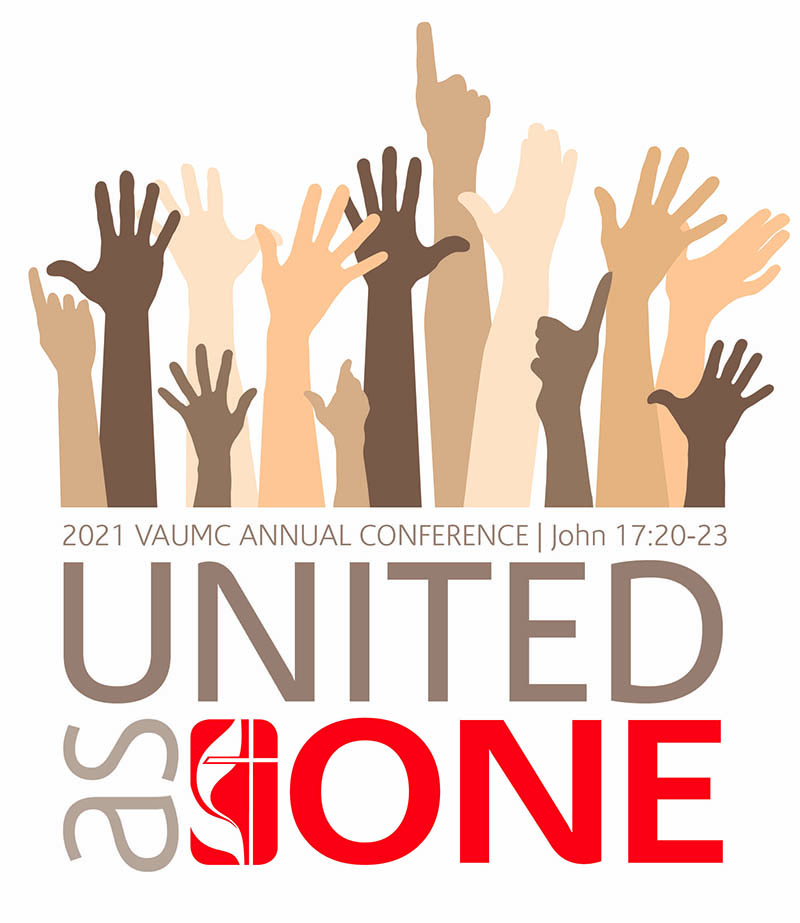 united as one 2021 annual conference logo--multicolored hands reaching upward