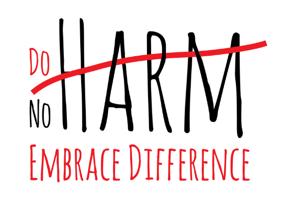 Do No Harm logo--the word HARM with a red line through it